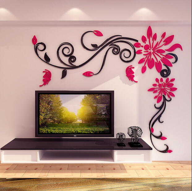 Newest Acrylic Flower Wall Stickers Crystal For