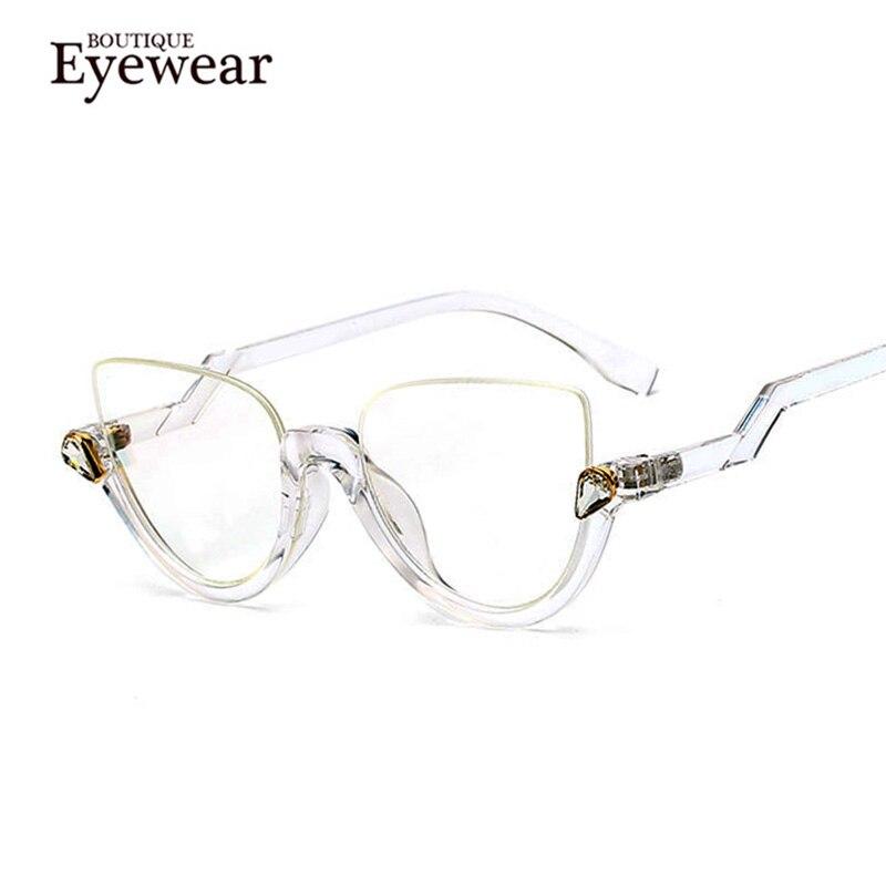 a77e28292f BOUTIQUE Women Fashion Cat Eye Semi Rimless Frame Glasses .