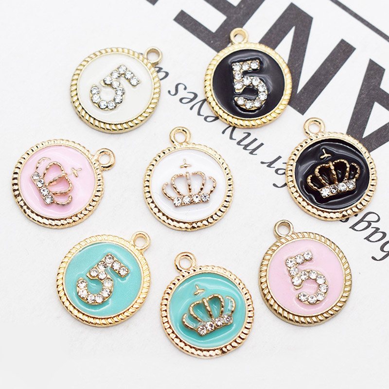 10pcs 16*19mm Round Crown number 5 Enamel Charms Alloy Pendant fit for bracelet Necklace DIY Fashion Jewelry Accessories YZ386(China)