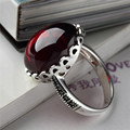 Punk 100% S925 Solid Thai Silver Garnet Stone Ring New Fine Jewelry Pure 925 Sterling Silver Rings for Women LR14