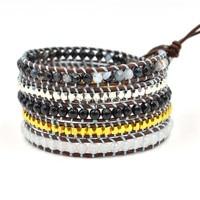 Vintage Punk Braccialetto di Cuoio Avvolge Multistrato 5X Wrap Bracelet