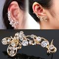 Attractive Retro Crystal Ear Clip Butterfly Flower Gold Ear Cuff Stud Earring Wrap Clip On Ear  EAR-0155