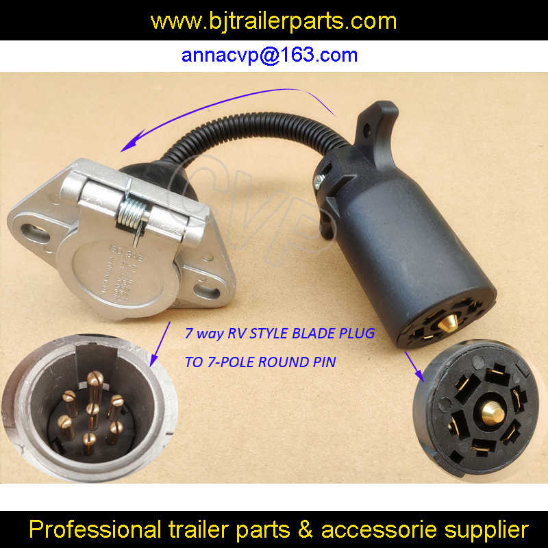 CVP trailer connector adapter 7 way RV style blade plug to 7 ... on 7 pole trailer connector, 7 pole rv connector, 7 pole ignition switch, for satellite receiver wiring harness, 7 pole wire connector silverado, 1989 toyota camry wiring harness,