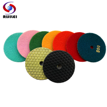RIJILEI 8 Pcs/lot 4 inch dry polishing pad 100 mm Marble pads diamond Use for floor granite #50-BUFF
