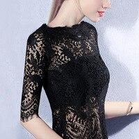 Verão Sexy Lace oco t-shirt das mulheres meia manga fenda decote transparente slim top Floral preto Vintage Camisetas sg26120
