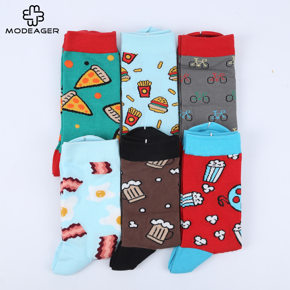 High Quality 200 Needle 80% Combed Cotton Mens   Socks   Pizza Coffee Novelty Food   Socks   Chaussette Homme   sock