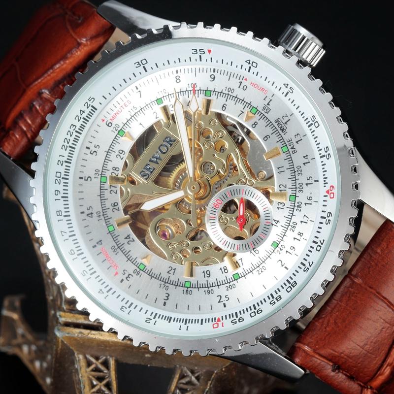 Prix pour Montre mécanique Hommes De Luxe Marque SEWOR Affaires Squelette Armée Horloge Auto Vent Poignet 2016 Robe Bracelet En Cuir Montres SWQ21