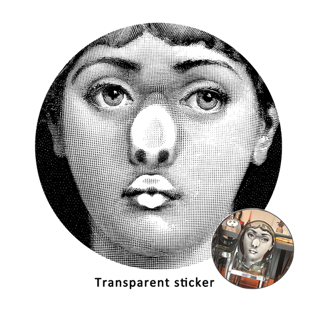 Fornasetti transparent stickers wall decorative classic artistic wallpaper creative diy sticker for chair/tile/cover/home/bar
