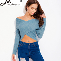 Avodovama M Fashion Women V Neck Long Sleeve Criss Cross Shirt Blue Slim Sexy Off Shoulder