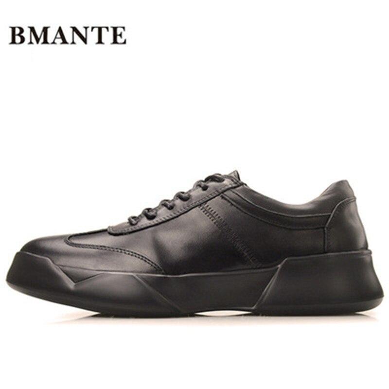 Nouveaux Hommes En Cuir Véritable Chaussures Formateurs De Luxe D'été Mâle Adulte Chaussures Casual Appartements Solide Printemps Noir à Lacets Chaussures