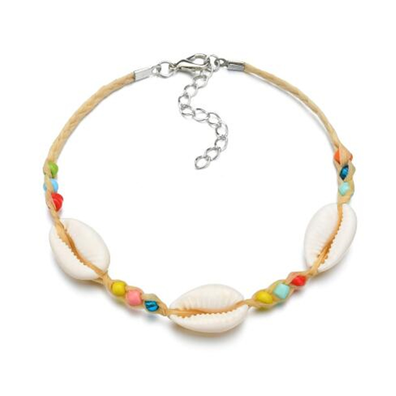 Vintage DIY Rope Crystal Bead Ankle Bracelet Natural Shell Bohemian Anklet Women Foot Jewelry Summer Beach Holiday Accessories