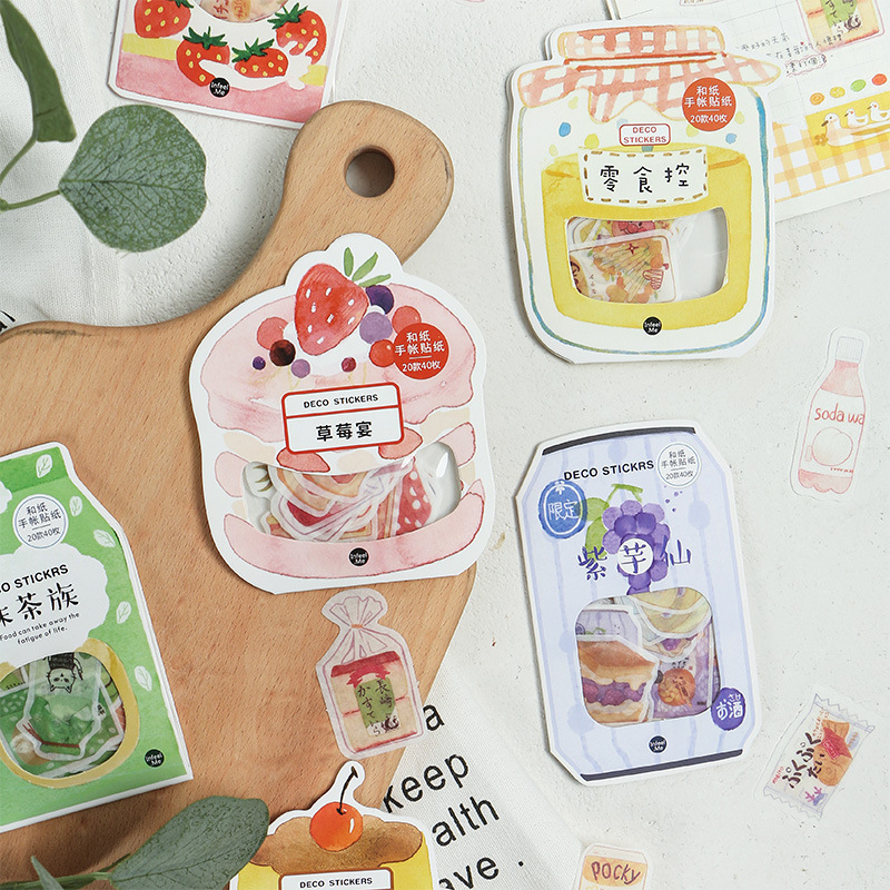 40 Pcs/pack Sweet Time Series Snack Decorative Stickers Adhesive Stickers DIY Decoration Diary Stationery Stickers Children Gift