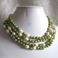 10x10 Jewerly Freeshipping 66 5 9mm White Green Baroque Rice Freshwater Pearl Necklace