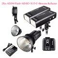 Godox 2 pcs AD200 200Ws 2.4G Kit Strobe Flash TTL + X1T-C + AD-B2 + Bowens Refletor para Canon, strobe Flash para Canon DSLR Camera