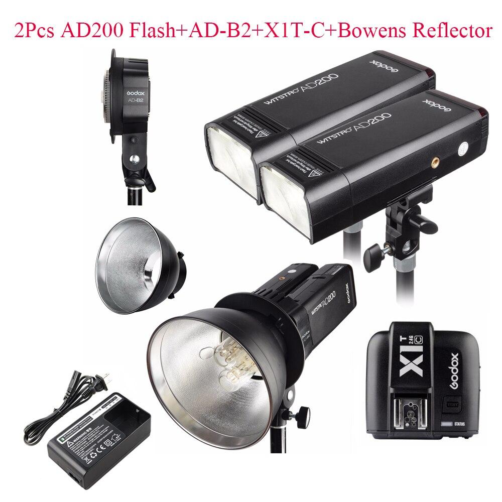 Godox 2pcs AD200 200Ws 2.4G TTL Flash Strobe Kit + X1T-C + AD-B2 + Bowens Reflector for Canon,Flash Strobe for Canon DSLR Camera canon ws 1410t
