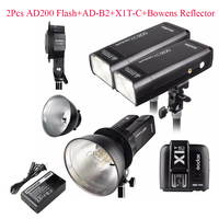 Godox 2pcs AD200 200Ws 2.4G TTL Flash Strobe Kit + X1T C + AD B2 + Bowens Reflector for Canon,Flash Strobe for Canon DSLR Camera