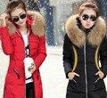 2017 Casaco de Inverno Mulheres Médio-Longo Plus Size Casaco Grande Gola de Pele De Guaxinim Real Para Baixo Casaco Jaqueta de Inverno Para Baixo mulheres