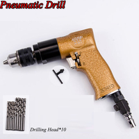 Air Drill Pistol type 3/8 Self locking Reversible Pneumatic Drills Air Impact Drill Tool With 10 Free Drilling Bits 9012/9013