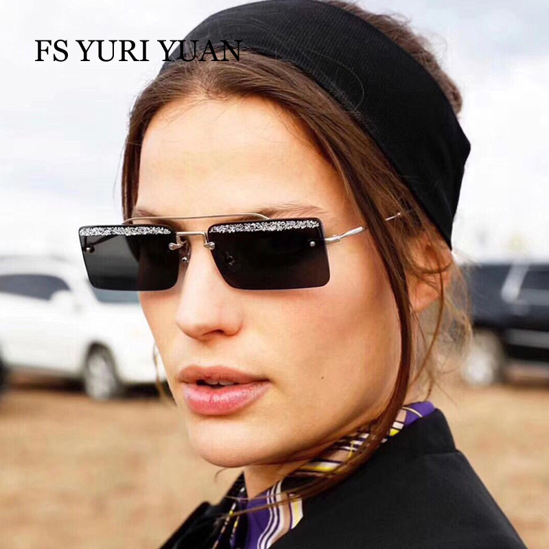 FS YURI YUAN Glitter Sunglasses Women Brand Designer 2018 New Female Metal Frame Rectangle Luxury Glasses Black Pink Eyewear
