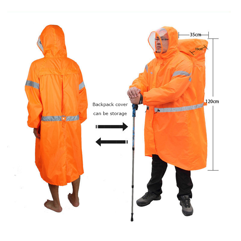 Bluefield Unisex Reflective Outdoor Backpack Raincoat Rain Cover One-piece Rain Poncho Cape Jacket For Hiking Camping Cycling