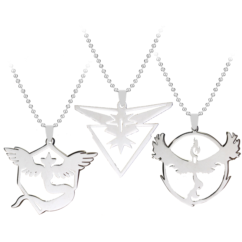 Hot Stainless Steel Necklace Pokemon Go Tag Necklace Game Anime Metal Team Valor Mystic Instinct Logo Bead Chain For Fans