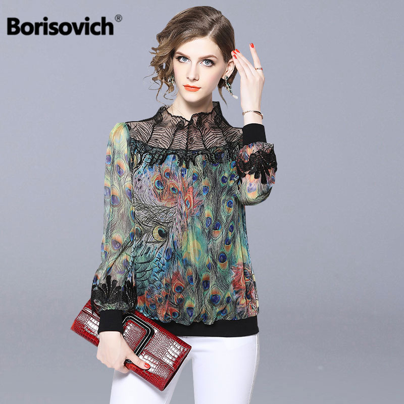 Borisovich Women Casual Chiffon   Blouses     Shirts   New Brand 2018 Autumn Fashion Vintage Print Office Lady Elegant   Shirt   N049