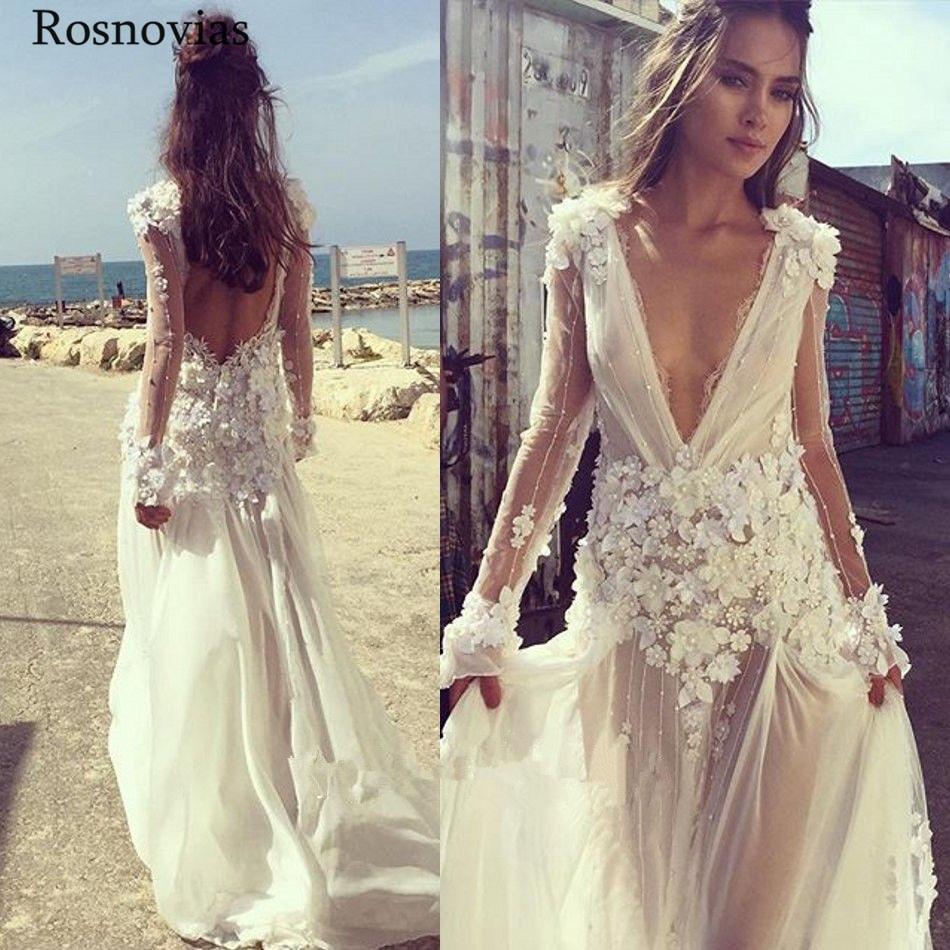 Boho plage robes de mariée 2019 col en V profond manches longues dos nu balayage Train main faire des fleurs perlées Boho robes de mariée personnalisé