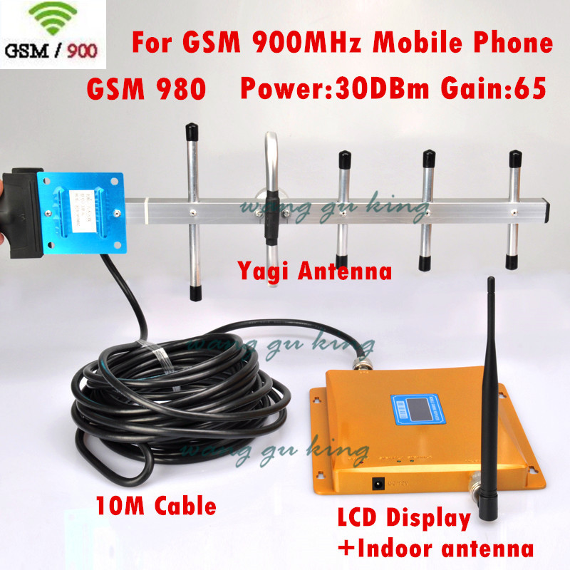 GSM 980 Signal Repeater 900 mhz Mobile Phone Signal Booster Cell Phone Amplifier + yagi Antenna 10M Cable LCD Display