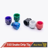 Quartz Banger 20pcs / 50pcs / 100pcs Epoxy Resin 510 Snake Drip Tip Mouthpiece Wide Bore for V8 Baby Doggy Style Tank Atomizer