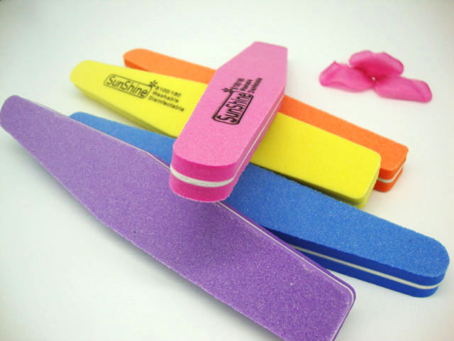 10pcs Double Side 100/180 Colourful Nail File Buffer Sanding Washable ManicureTools JZ183