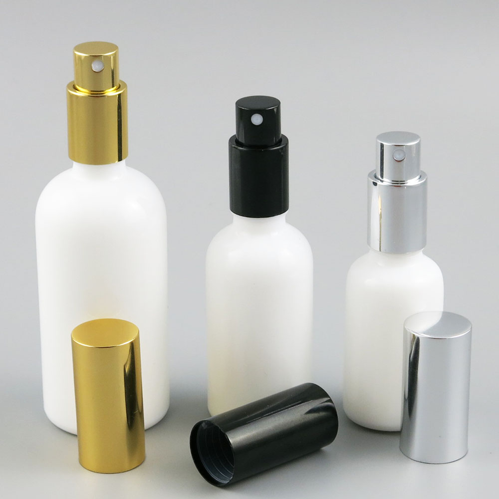 12pcs x Refillable Natural White Glass Bottle With Aluminium Sprayer 30ml 50ml 100ml White Glass Parfume