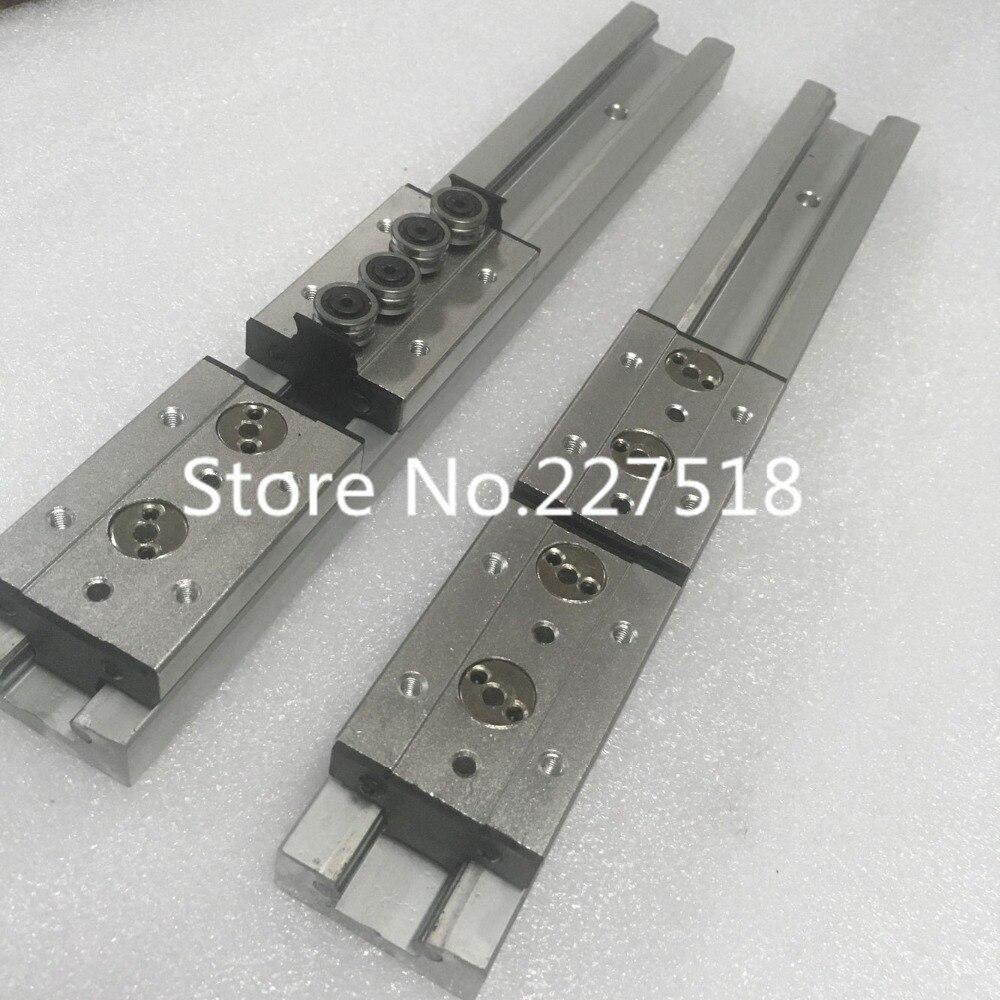 2pcs Double axis roller linear guide SGR15 L400mm +4pcs SGB15UU block multi axis core linear Motion slide rail auminum guide