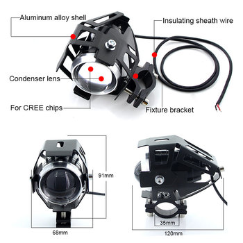 2PCS White motorcycle headlights auxiliary lamp U5 led motorbike spotlight accessories 12V moto DRL spot head lights 1