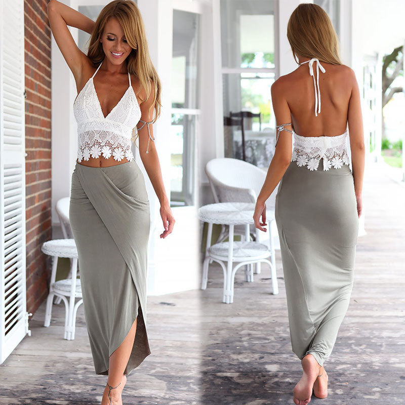 96f1f25b7d9 Summer crop top and skirt set for Women Sexy Halter Deep V neck White Lace  Tank ...