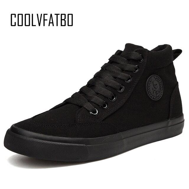 COOLVFATBO/трендовая Мужская Вулканизированная обувь черного цвета с высоким берцем на шнуровке, осенне-зимняя повседневная парусиновая обувь ...
