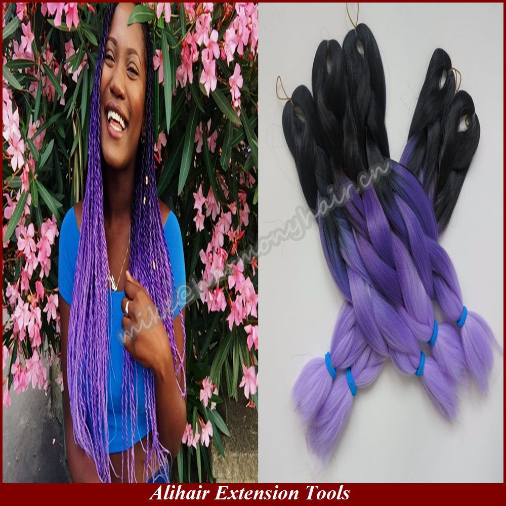 5 Packs Free Shipping 20 100g Black Dark Purple Light Ombre Lavender Kanekalon Jumbo Box Senegalese Twist Braiding Hair On Aliexpress Alibaba