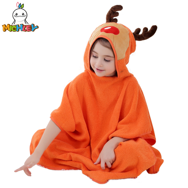 13be62a331 MICHLEY Children Towel 2018 Baby Girl 100% Cotton Bath Robe Boy Spring  Breathable Animal Hooded