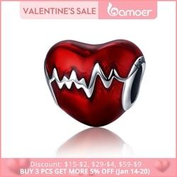 BAMOER New Arrival 100% 925 Sterling Silver Love Heart ECG & Red Enamel Beads fit Charm Bracelets for Women Jewelry Gift SCC249