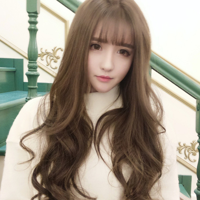korean version of burst models fashion temperament bangs long curly