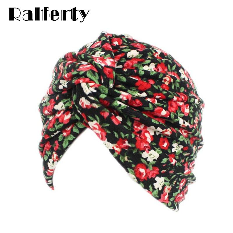 Ralferty 1940s Flower Turban Hat Soft Twist Chemo Hats Women Head Covering Stretch Haar Hair Accessories   Skullies     Beanies   JD211