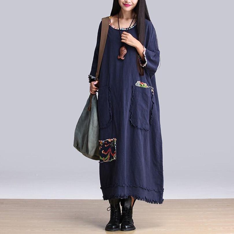 Summer Dress 2018 Women Fashion Summer Style Cotton Linen Maxi Dress Vestidos Loose Oversized Robe Vintage Causal Dresses HY314
