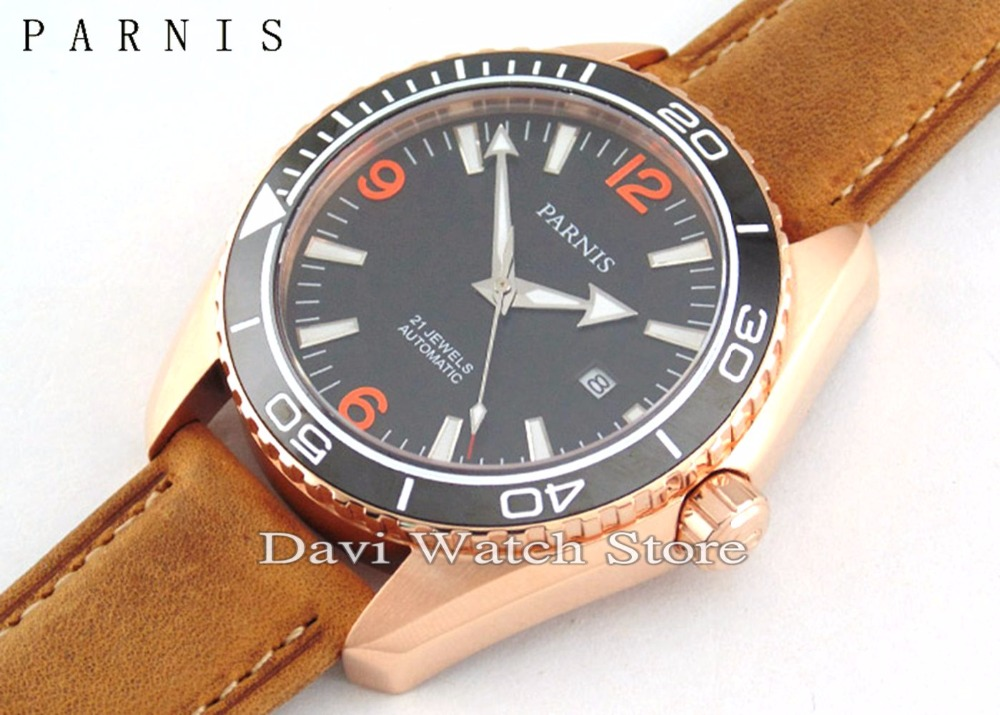 8438078b1 Parnis 45mm Rose gold case Ceramic Bezel Sapphire Glass Men's MIYOTA  Automatic brown band mens Watch-in Women's Watches from Watches on  Aliexpress.com ...