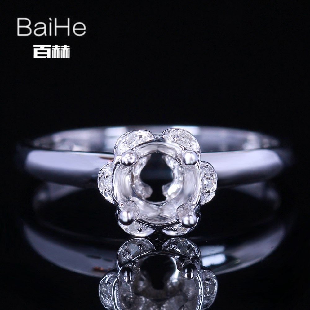 BAIHE Solid 14k White Gold(AU585) Certified Round Cut Engagement Women Office/career Fine Jewelry Elegant unique Semi Mount RingBAIHE Solid 14k White Gold(AU585) Certified Round Cut Engagement Women Office/career Fine Jewelry Elegant unique Semi Mount Ring