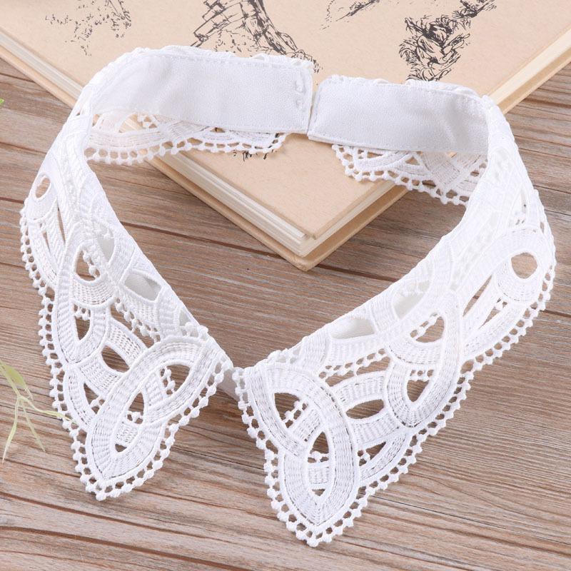 Blackwhite Women Fake Collar Party Blouse Lace Hollow Detachable Fake Collar