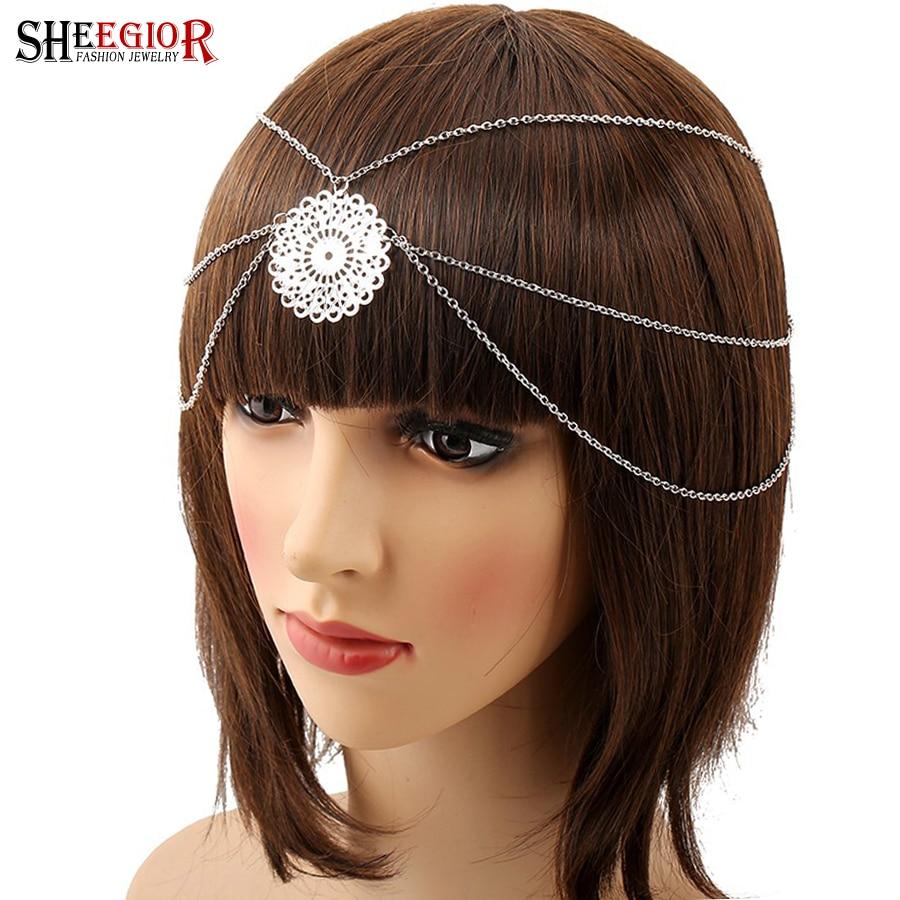 SHEEGIOR Boho Vintage accesorios de la venda del pelo para las mujeres Boda  nupcial pelo joyería plata cadena borla hueco flor Hairband 79a5e1e7199