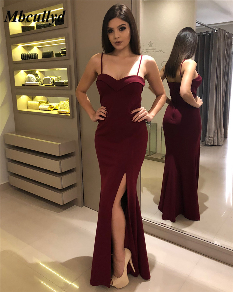 Mbcullyd Burgundy Mermaid   Prom     Dress   2019 Sexy Side Split Evening   Dress   For Women Cheap Plus Size Formal Backless Robe de soiree