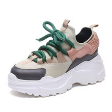2019 Fashion Korean Withe Platform Sneakers Women Casual Shoes Thick Soled Womens Black Chunky Sneakers Women Chaussure Femme