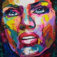 Palette knife painting portrait Palette knife Face Oil painting Impasto figure on canvas Hand painted Francoise Nielly 14-56 цена и фото