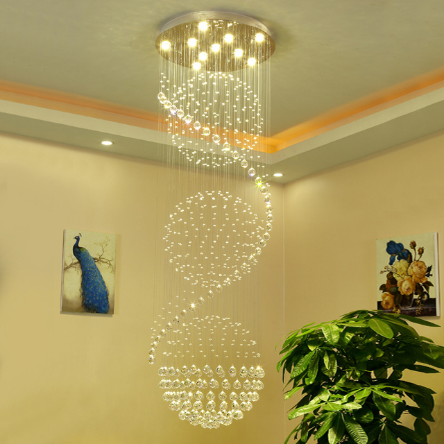 luxury design k9 crystal stainless steel chandelier stairway hotel living room lamp indoor decoration lighting fixture - Stainless Steel Hotel Design