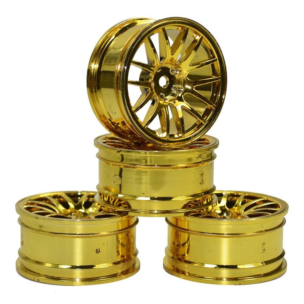RC Car 1/10 On-Road Racing gold Spoke Wheel Rim for 1/10 HSP HPI Tamiya SakuraTires 4pcs aluminum alloy 52 26mm tire hub wheel rim for 1 10 rc on road run flat car hsp hpi traxxas tamiya kyosho 1 10 drift parts